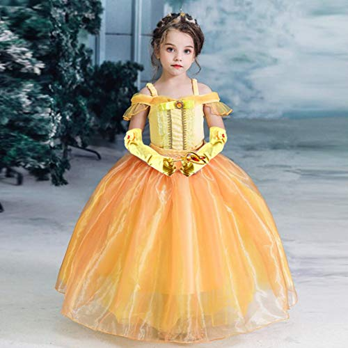 3 otters Princess Dress Up, Princess Costume Accessories Children\'s Crown Magic Wand Gloves Necklace Earring Set Prom Party Dress Up Girl Yellow 6PCS