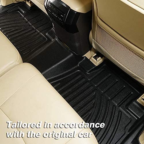 Mixsuper 3D Floor Mats Set Heavy Duty All Weather TPE Material Floor Liner for Toyota Land Cruiser Prado 5 Seats 2010-2019