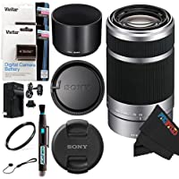 Sony E 55-210mm F4.5-6.3 OSS Lens for Pixi-Battery Accessory Bundle
