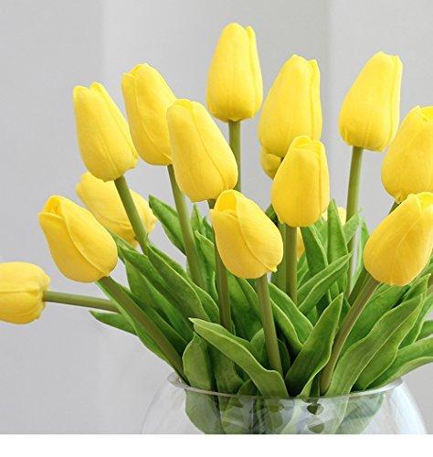 12PCS/Set PU Stunning Holland Tulip Flower Real Touch Artificial Silk Flowers Arrangement Bouquet Home Room Office Wedding Party Decor (Holland Floral Vase)