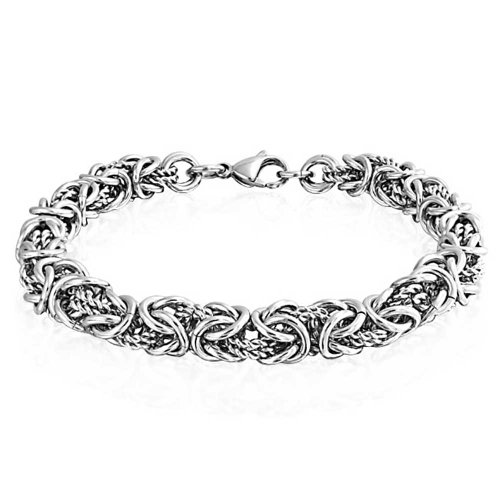 (Bling Jewelry Byzantine Chain Mechanic Link Mens Bracelet for Men Silver Tone Stainless Steel Heavy)