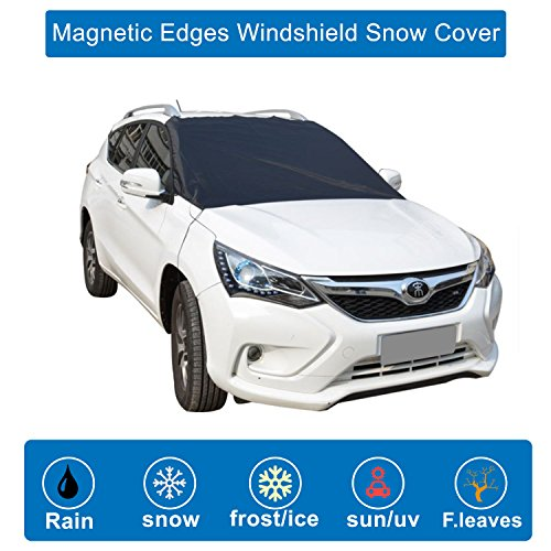 Magnetic Edges Windshield Snow Cover - Snow, Ice, Frost Guard No More Scraping - Frost Windshield Cover - Door Flaps Windproof Fits Most Car, SUV, Truck, Van with 82