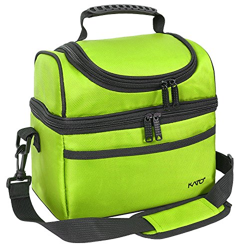 Kato Insulated Lunch Bag, Leakproof Bento Cooler Tote Lunch Box for Men and Women, Dual Compartment with Shoulder Strap, Green