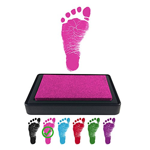 ReignDropBaby Baby Footprint Handprint Ink Pad - Create Impressive Keepsake Stamp - 100% Non-Toxic & Acid-Free Ink - Easy to Wipe/Wash Off Skin - Smudge Proof & Long Lasting Keepsakes (PINK)