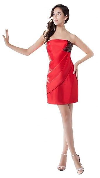 Orifashion Simple Tubo Rojo Cortodiseño De Vestido De