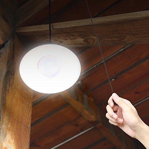 MVpower Lámpara Panel Luz Solar 4 LEDs Lámpara de Techo Lámpara colgante Luz Blanco para la Sala de Estudio Garaje Dormitorio Oficina Color Negro