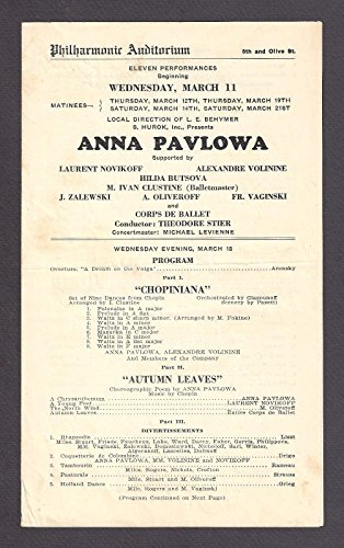 Mlle. ANNA PAVLOVA (Pavlowa) Ballet Russe