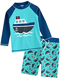 2T-7T Toddler Kids Boys UPF 50+ UV Protection Rashguard Swimsuit Bathing Suit Sets Quick Dry