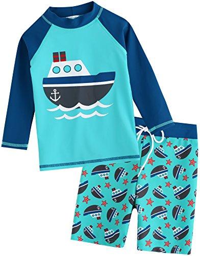 Vaenait Baby Kids Boys Rashguard Swimsuit Long Shirt and Shorts Set Ocean Boat L (Boys Rash Guard Swimwear)