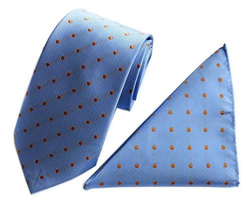 (Men's Big Boy Classic Cravat Silk Wedding Tie in Light Blue and Oange Micro Dot)