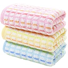 Pidada 100% Cotton Hand Towels Super Soft Highly Absorbent Towel for Bathroom 13 x 30 Inch Set of 3 (Pink Yellow Blue)