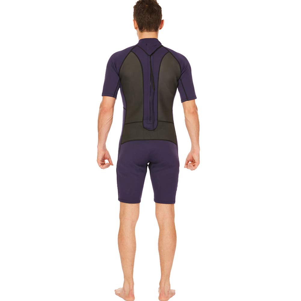 Realon Shorty Wetsuit Men 3mm Surfing Suit Diving Snorkeling Swimming Jumpsuit (2mm Shorty Navy, Large) by Realon (Image #3)