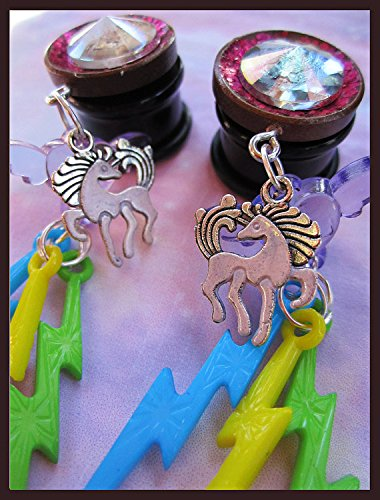 "Fantasy Rainbow Unicorn EAR PLUGS dangle earrings pick gauges 2g, 0g, 00g, 7/16"", 1/2"", 9/16"", 5/8"", 11/16"" aka 6, 8, 10, 12, 14, 16, 18mm 4"