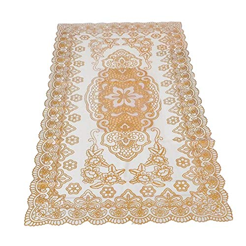 Table Runners - Bronzing Coffee Table Tablecloth Hollow Pvc Plastic Waterproof Oil Proof Mats 60 120cm Gold - Linen Artificial Used Shimmer Heat Spring County Ocean Country Embroidered Yar