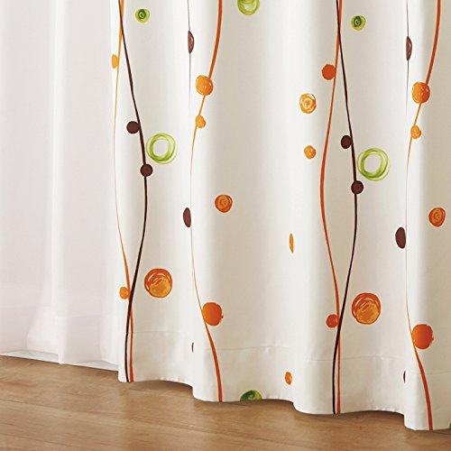 (ニッセン) nissen カーテン & レースカーテン 4枚セット ( 水玉柄 遮熱 防音 99.99% 遮光 カーテン & 遮熱 夕方まで見えにくい レースカーテン ) オレンジ ストライプ 幅150×長さ178(176)cm×各2枚ずつ B076D8YL3G