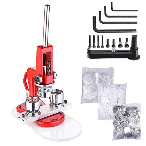 Yescom 1 1/4 inch 32mm Button Badge Maker Punch Press Machine with 1000 Pcs Pin-back Button Parts and Circle Cutter
