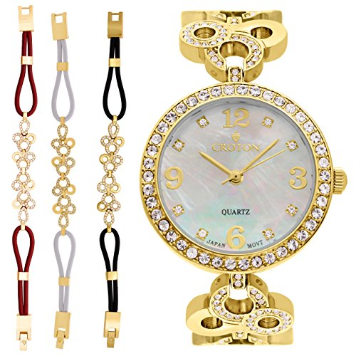 Croton Ladies Goldtone Mother of Pearl Dial Watch with Crystal Bezel & Bracelet Set - CN407567YLMP (Croton Bezel Crystal)
