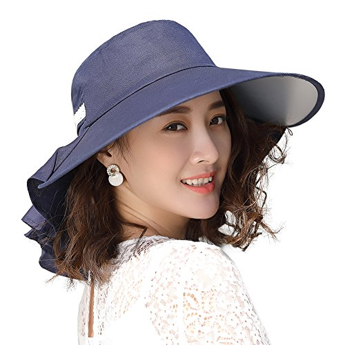 UV Protection Sun Hats for Women Summer Gardening Fishing Hiking Travel Shade Hat Wide Brim Packable Navy Siggi