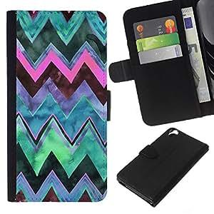 KLONGSHOP // Tirón de la caja Cartera de cuero con ranuras para tarjetas - Patrón trullo Cielo Acuarela - HTC Desire 820 //