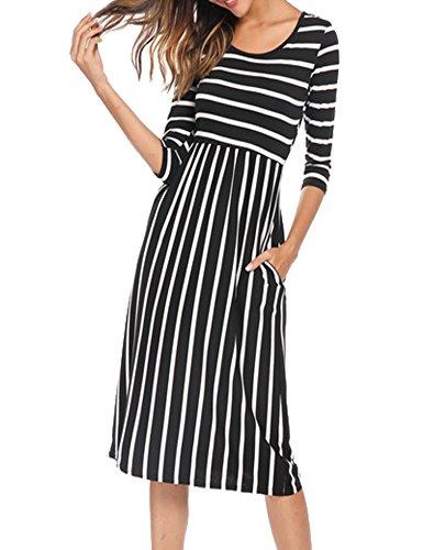 Women's Loose Long Sleeve Midi Below Knee Trapeze Dress Black,M