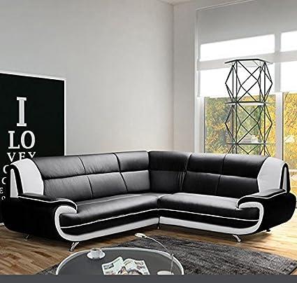 Muebles Bonitos - Sofá Luana New negro con blanco - chaise ...