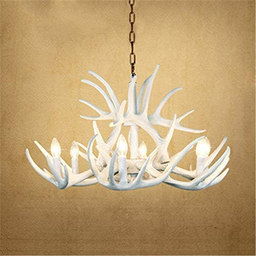 NIUYAO Vintage Pendant Light Retro Farmhouse Candle Style Resin Deer Antler White Chandeliers Faux Antler Fixture 6 Light Matching Chain Suspension Light Indoor Decoration