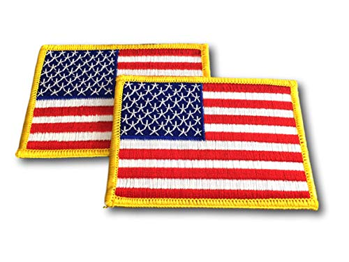 2 Pack USA US American Flag Embroidered Patch - 3.5