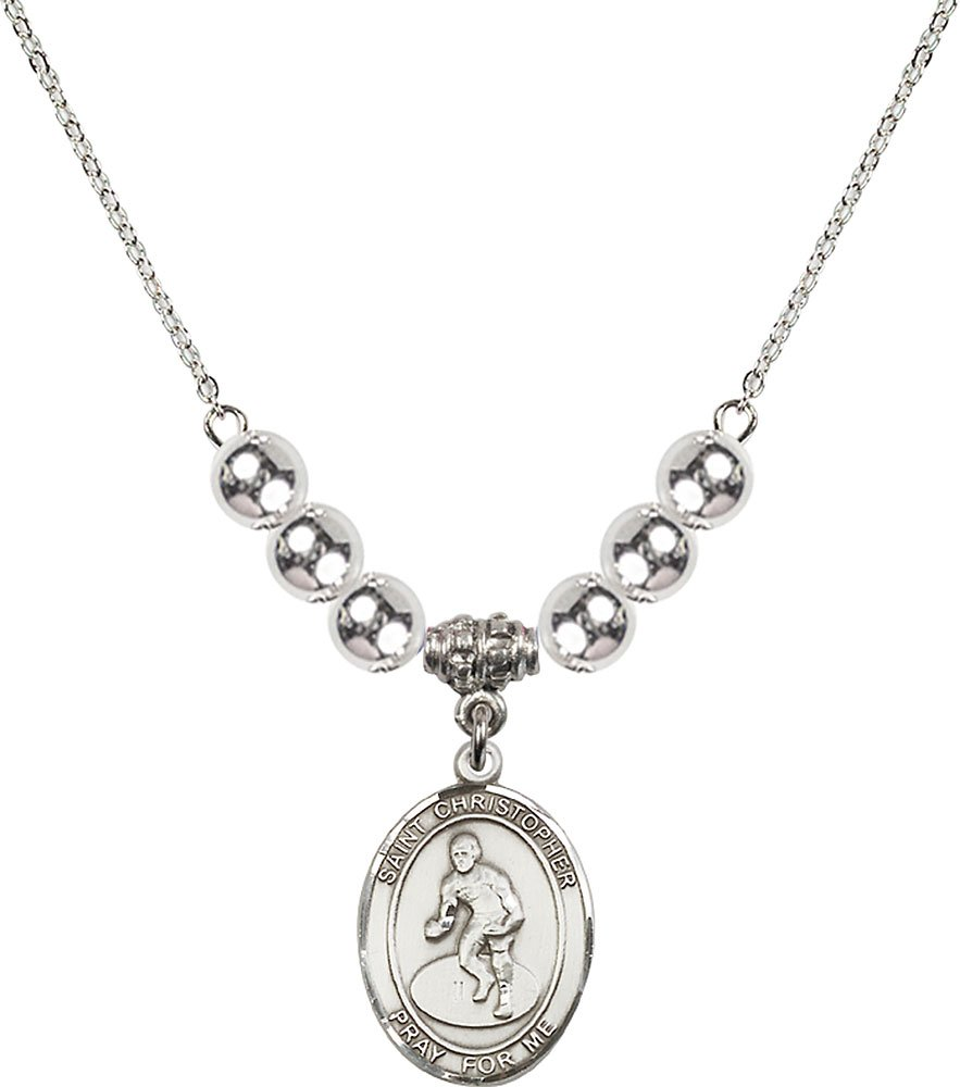 Rhodium Plated Necklace with 6mm Sterling Silver Beads & Saint Christopher/Wrestling Charm. by F A Dumont