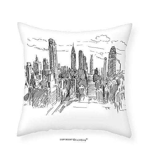 VROSELV Custom Cotton Linen Pillowcase New York Decor Hand Drawn NYC Cityscape Tourism Travel Industrial Center Town Modern City Design for Bedroom Living Room Dorm Black White - Hamilton Center Town