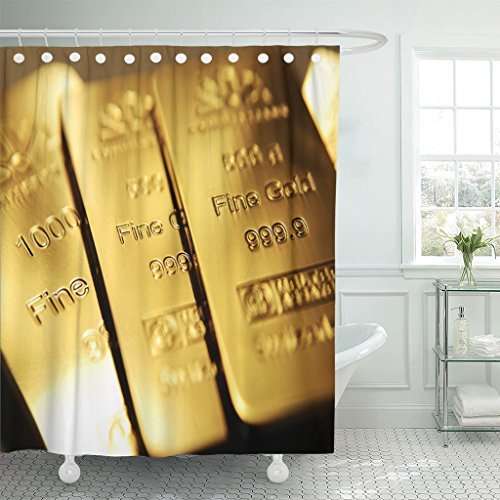 - Emvency Shower Curtain Yellow Bullion Gold Bars Ingot Vault Reserve Wealth Bank Waterproof Polyester Fabric 72 x 78 inches Set with Hooks