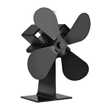 PROKTH Ventilador con 4 aspas para Estufa o Chimenea en Invierno - Calefacción de energía térmica - Protección del Medio Ambiente - Negro - 1pcs: Amazon.es: ...