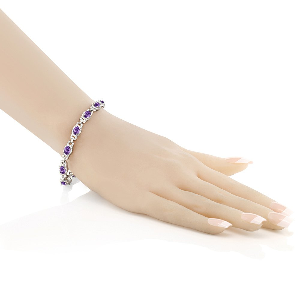 8.55 Ct Oval Purple Amethyst 925 Sterling Silver 7 Inch Bracelet With 1 Inch Extender