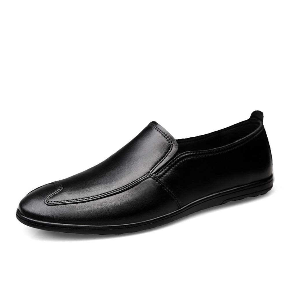 Black Men's Classic Penny Loafers Driving Flat Embossed shoes Genuine Leather Casual Light-Weight Breathable Round Toe Slip On Cricket shoes
