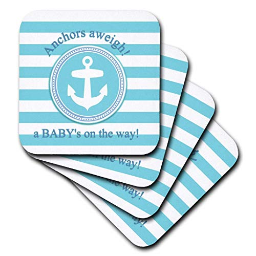 (3dRose CST_179692_1 Anchors Aweigh a Baby's on The Way for Blue Nautical Boy Baby Shower Soft Coasters, Set of)