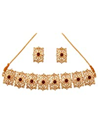 Touchstone gold tone Indian Mughal bollywood faux emeralds white diamante jewelry choker set for women