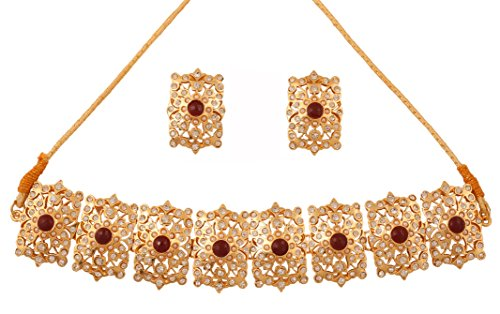Touchstone Mughal Jali collection gold tone Indian Mughal bollywood red faux ruby white diamante jewelry choker set for women