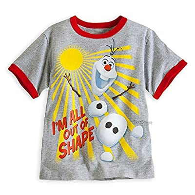 """Disney Frozen Olaf """"I Am ALL OUT of Shape"""" Ringer Tee for Boys Size 7/8"""
