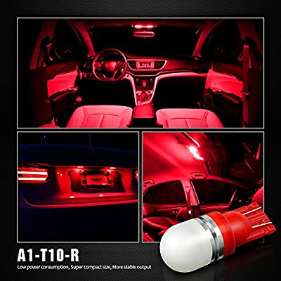 SIRIUSLED Super Bright 1W 360 Degree LED Bulbs for Interior Car Light Instrument Panel License Plate Dome Map T10 168 194 2825 Red Pack of 6: Automotive