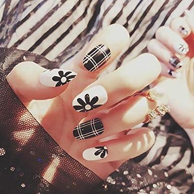 Amazon.com: Asooll 24 uñas postizas de rayas negras con ...