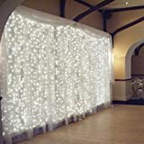 Bedroom Curtain Lights AMARS 3M X 3M Window String Fairy Waterfall Icicle Wedding Party Lights (White, 8 Modes, Safe Voltage, UL Listed)
