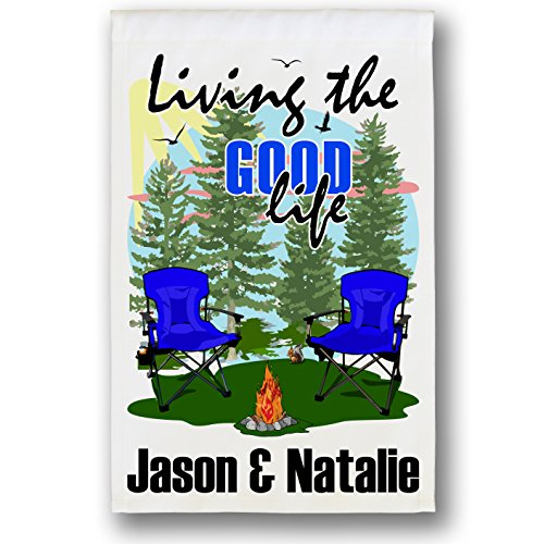 Happy Camper World Living The Good Life Personalized Weatherproof Campsite Flag (White Fabri, Blue)