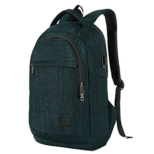 MarsBro Laptop Backpack, Anti Theft Business Water Resistant 15.6 Inch with USB Charging Port Travel College Computer Bag, Malachite Green College Green
