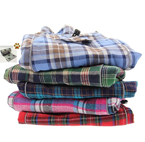 Alpine Cold Weather Flannel Plaid Fur Lined Pinned Dog Coat with Bags Set - (5XL - Chest 37-40'', Neck 30-32'', Back 30'', Green/Blue) by DOGGIE DESIGN (Image #4)