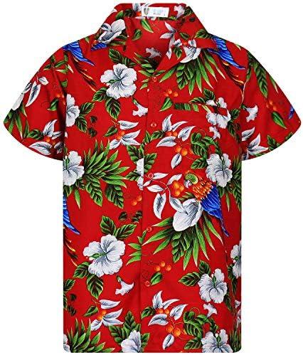 Funky Hawaiian Shirt Men Shortsleeve Frontpocket Hawaiian-Print Cherry Parrots Party Flowers