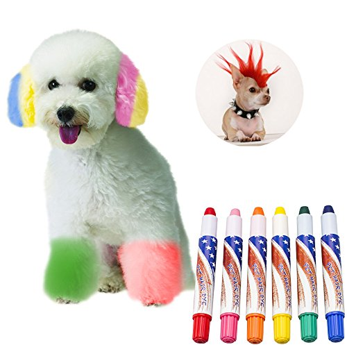 Petperi Professional Temporary Dog Hair Dye Pens Set (6Pcs/Pack),completely non-toxic and safe