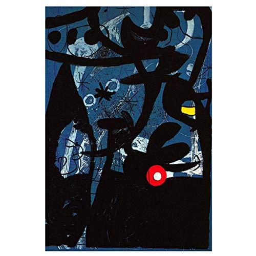feitao Famoso Joan Miro Pintura De Acuarela Abstracta Carteles E Impresiones Cuadro De Arte De Pared para La Decoracion del Hogar De La Sala De Estar -20X30 Pulgadas Sin Marco