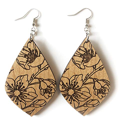 Grounded Goods Design Floral Teardrop Wood Earrings (Beige)
