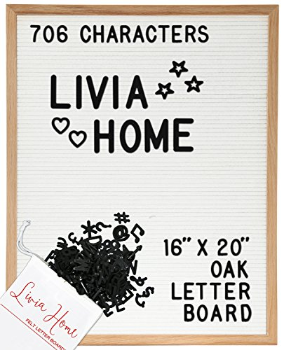"Display Office Clipboard (Letter Board – White Felt Sign with 706 1"" and 2"" Black Plastic Changeable Characters – Large Wooden 16 x 20 inch Solid Oak Frame – With 7x5 inch Canvas Bag - Vintage Display by Livia Home)"