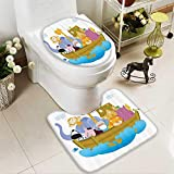 Muyindo Large Contour Mat Old Christian Story Noahs Ark with of Animals in the Boat Journey ith Cart Non-Slip Microfiber Bathroom mat with Anti Skid