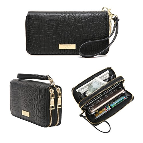 Aitbags Women's Double Zip Around Wallet Clutch Organizer with Wristlet Strap